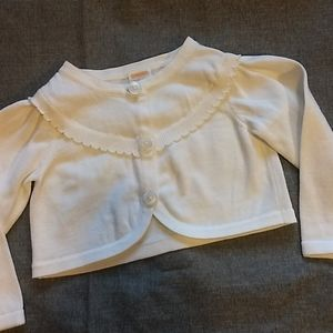 Baby Girl White Cardigan * Size 12-18 Months